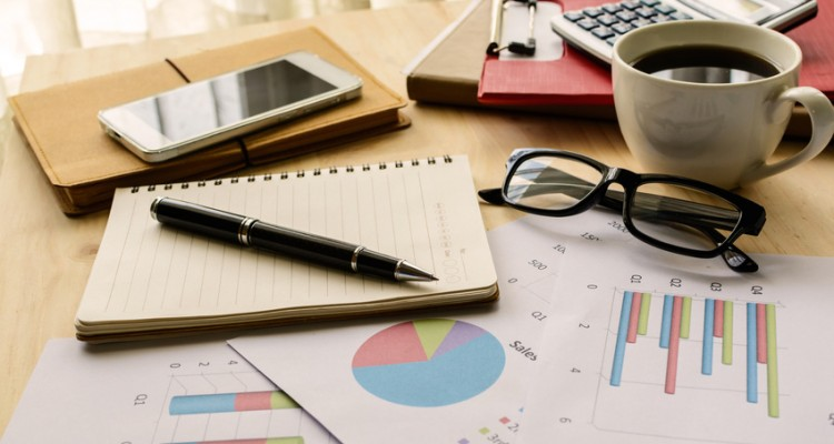 Desk office business financial accounting calculate, Graph analysis, Business concept